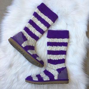 UGG Australia Sweater Boots Sheepskin Striped Knit